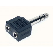 Adattatore da Spina Jack 6,3 mm Stereo a due Prese Jack 3,5 mm Stereo